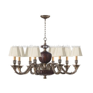 2017 Linen Chandeliers Inside Antique Like Polishing Imported Linen Solid Wood Lighting Pole Brass (View 10 of 10)