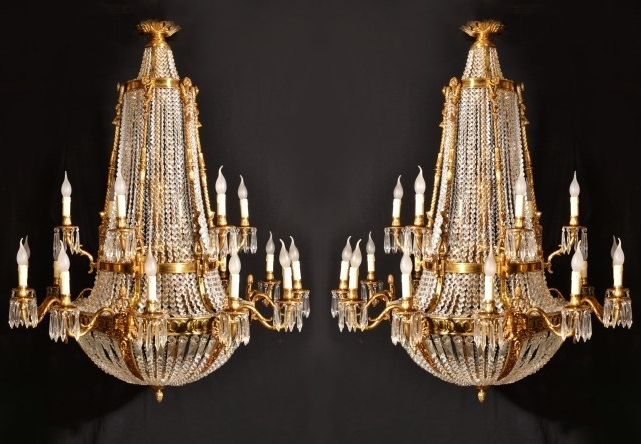 2017 Pair Of French Empire Ballroom 18 Light Chandeliers (View 6 of 10)