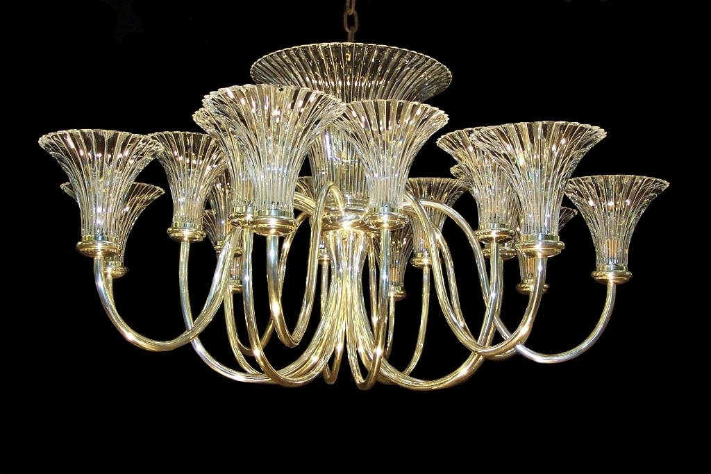2017 Rib Fluted Trumpet Shade Chandelier Wilkinson Plc Within Art Deco Regarding Art Deco Chandeliers (View 1 of 10)