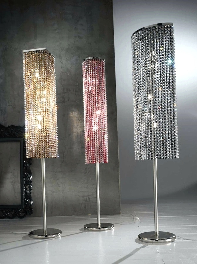 2017 Tall Standing Chandelier Lamps In Impressive Standing Chandelier Floor Lamp With Lights Bling Crystal (View 7 of 10)