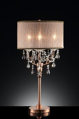 2018 35'' Rosie Crystal Table Lamp – Chandelier Table Lamp – Amazon Inside Faux Crystal Chandelier Table Lamps (View 1 of 10)