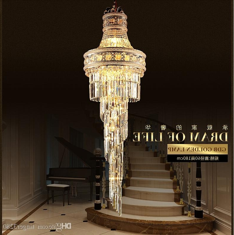 2018 Big Crystal Chandelier For 2016 Big Crystal Chandelier Led Candle Holder Lamps Modern Long (View 7 of 10)