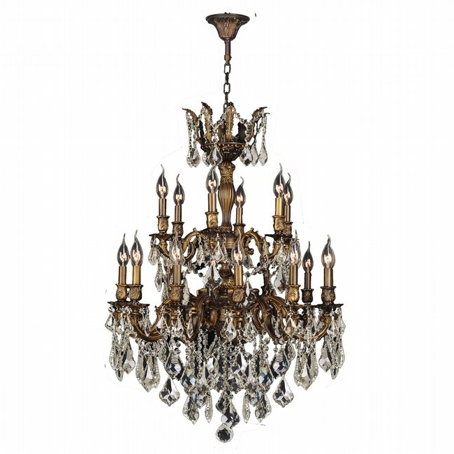 2018 Bronze And Crystal Chandeliers Inside Gt Versailles 18 Light Antique Bronze Finish And Golden Teak Crystal (View 6 of 10)