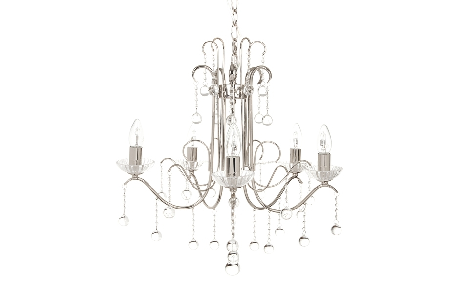 2018 Chandelier Chrome In Charlotte 5 Arm Chrome Chandelier (View 1 of 10)