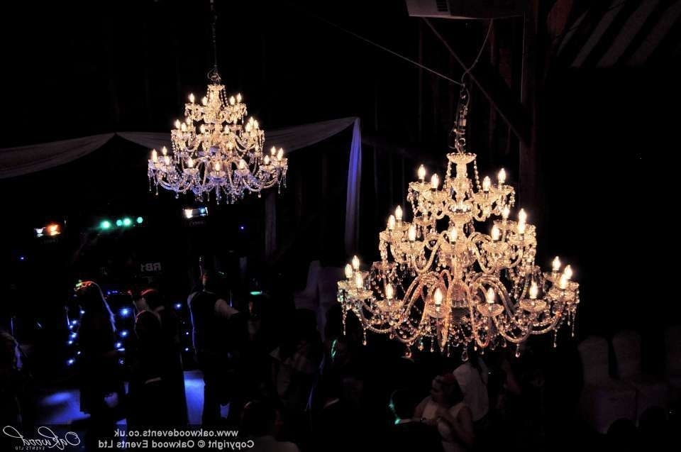 2018 Giant Chandeliers In By Night! At A #wedding The Tewin Bury Tythe Barn, Giant Chandeliers (View 10 of 10)