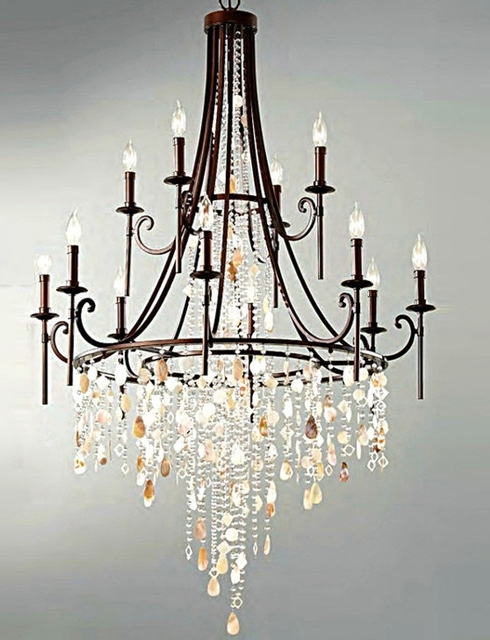 2018 Large Iron Chandelier With Regard To Fashion Shop Bar Retro Black Shell Chandelier Crystal Lamparas Large (View 1 of 10)