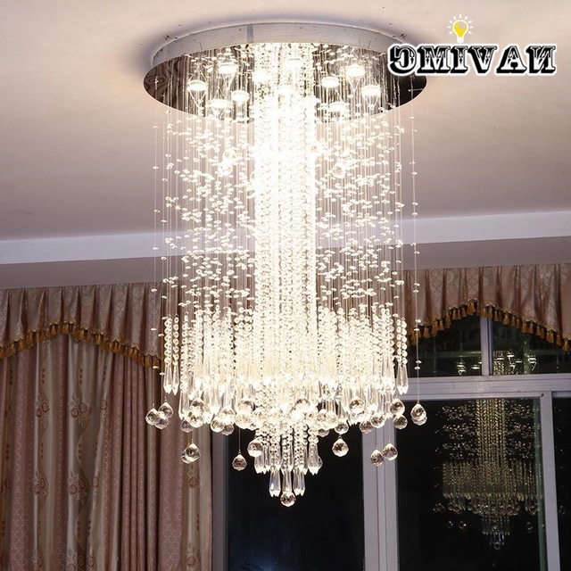 2018 Long Chandelier Lights With Regard To Modern Minimalist Led Vanity Long Stair Crystal Chandelier Light (View 2 of 10)