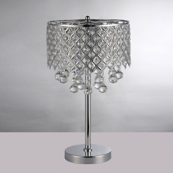 2018 Round Crystal Chandelier Bedroom Nightstand Table Lamp 3 Light Regarding Chandelier Night Stand Lamps (View 1 of 10)