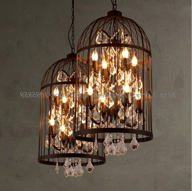 2018 Vintage 4 Lights Bird Cage Crystal Chandelier Lighting Restaurant With Regard To Cage Chandeliers (View 1 of 10)