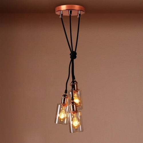 3 Bottle Glass Shade Retro Copper Chandelier Pendant Light Regarding Famous Copper Chandelier (Gallery 5 of 10)