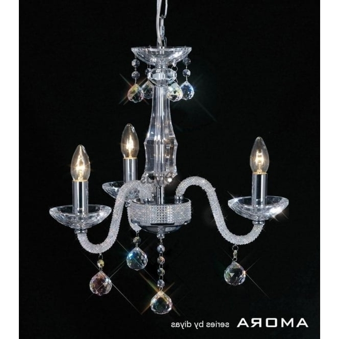 3 Light Crystal Chandeliers With Newest Diyas Amora 3 Light Crystal Chandelier In Polished Chrome Finish (Gallery 1 of 10)