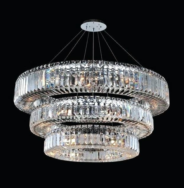 3 Tier Crystal Chandelier For Most Recently Released 3 Tier Crystal Chandelier Scontemporary Odeon Fringe Chrome Finish (Gallery 4 of 10)