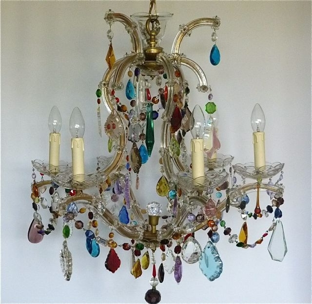 5 Arm Marie Therese Chandelier With Coloured Drops And Swags – The For 2017 Coloured Chandeliers (View 1 of 10)
