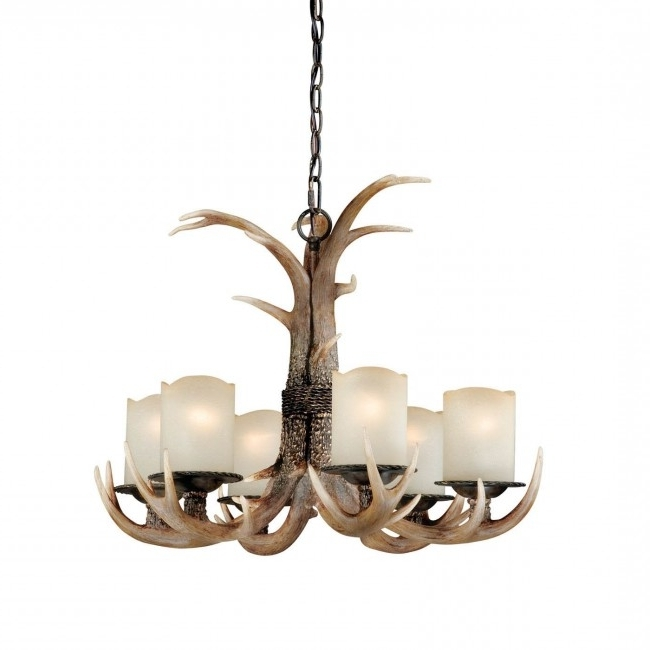 6 Light Antler Chandelier Black Walnut – Cabin Antler Lighting Within Fashionable Antler Chandelier (View 1 of 10)