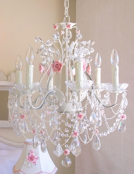 6 Light Crystal Chandelier With Pink Porcelain Roses (View 1 of 10)