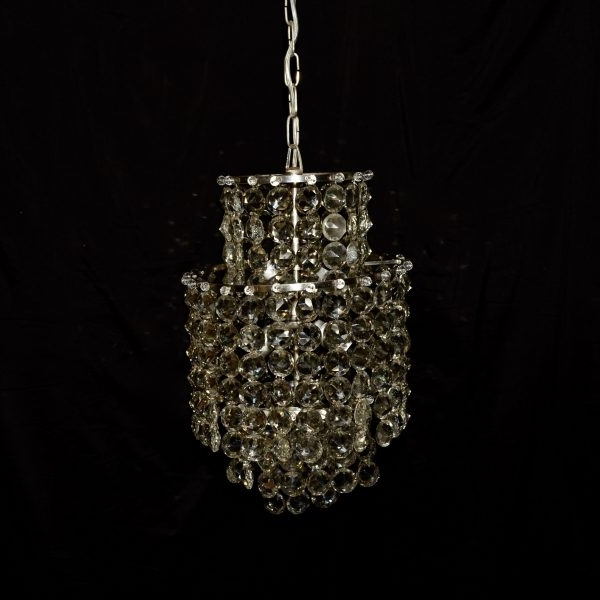 6 Lights Chromed Crystal Waterfall Chandelier C.1950 – Within Popular Crystal Waterfall Chandelier (Gallery 7 of 10)