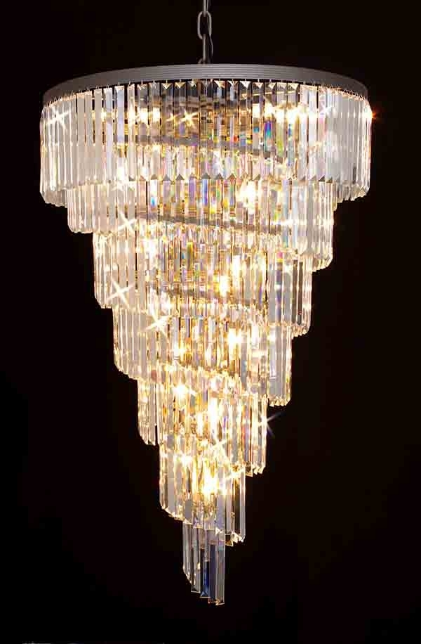 7 Light Chandeliers For Most Recent G7 1157/10 Gallery Closeout Retro Odeon Glass Fringe Rectangular (Gallery 6 of 10)