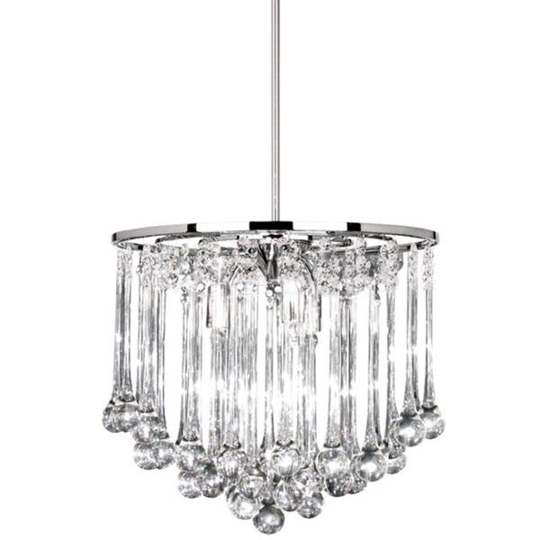 8 Light Polished Chrome Chandelier With Glass Droplets In Well Liked Chrome And Glass Chandeliers (View 1 of 10)