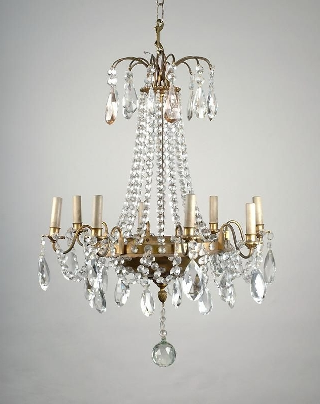 8 Light Tiered French Crystal Chandelier, Maison Jansen Throughout Preferred French Crystal Chandeliers (Gallery 4 of 10)