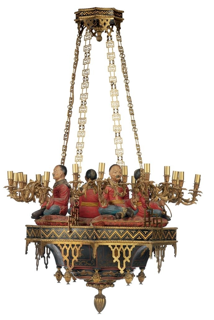 A Chinoiserie Ormolu Gilt And Polychrome Decorated Twenty Four Light Inside Most Recent Chinoiserie Chandeliers (View 1 of 10)