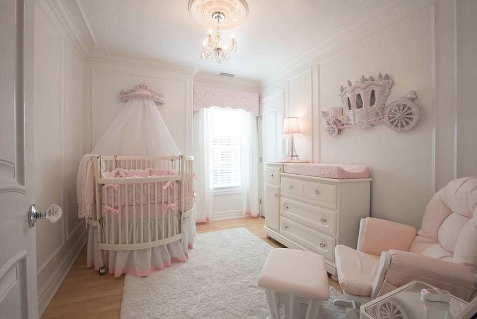 A Room Fit For A Princess: The Most Extravagant Girls' Rooms With Most Recently Released Mini Chandeliers For Nursery (View 5 of 10)