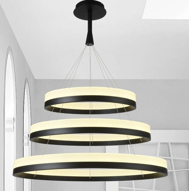 Acrylic Chandelier Lighting In 2018 New Led Acrylic Chandelier Fixture Black Remote Control Pendant Lamp (View 3 of 10)