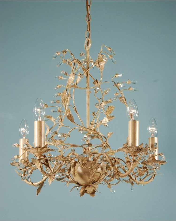 Adele Chandelier Cream/gold Leaf 5 Light Crystal Ceiling Light For Well Liked Cream Crystal Chandelier (View 1 of 10)