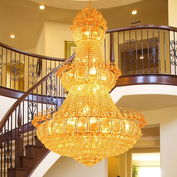 Aliexpress : Buy Large Gold Crystal Chandeliers Lights Fixture Throughout 2017 Big Chandeliers (View 6 of 10)