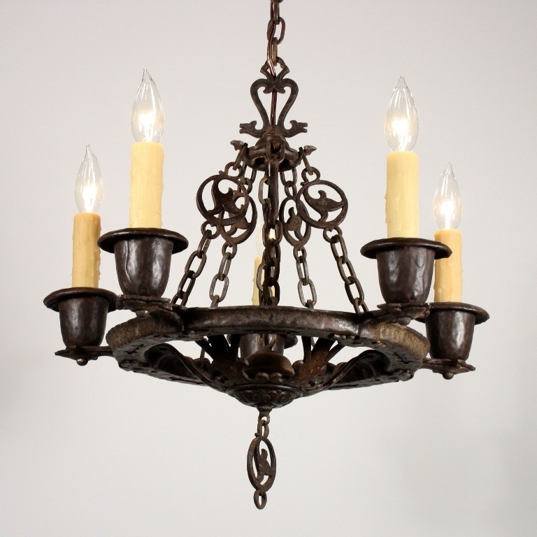 Amazing Antique Five Light Figural Tudor Chandeliervirden, Cast For Well Liked Cast Iron Chandelier (View 7 of 10)