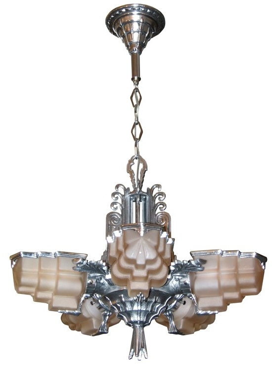 American Art Deco Five Shade Sculptural Aluminum And Pink Glass Throughout Favorite Art Deco Chandelier (View 8 of 10)