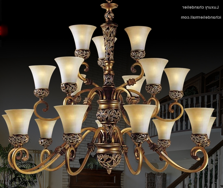 American Elegence Large Chandelier Lamp With Glass Shade Antique Within Fashionable Large Brass Chandelier (View 1 of 10)