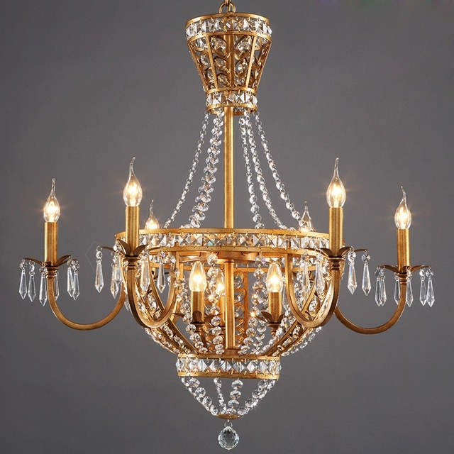 American Vintage Rustic French Style Crystal Chandelier Light Home Regarding Newest French Style Chandeliers (View 2 of 10)