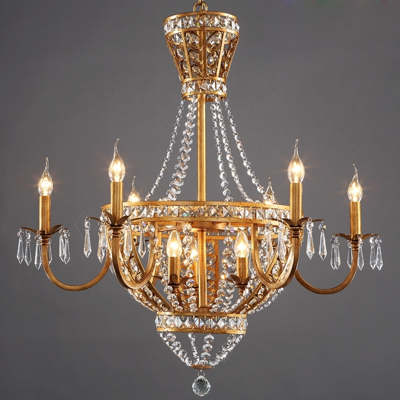 American Vintage Rustic French Style Crystal Chandelier Light Home With Regard To Newest French Chandeliers (View 1 of 10)