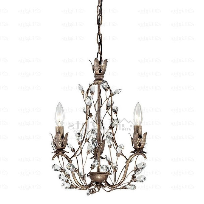Antique 3 Light Crystal Twig Type Small Vintage Chandelier Pertaining To Fashionable Vintage Chandelier (View 1 of 10)