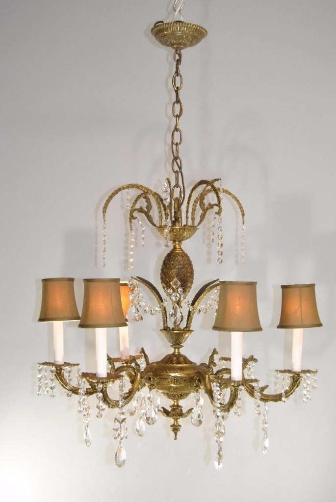 Antique 6 Arm French Style Brass & Cutt Glass Chandelier Light Pertaining To Current Brass And Glass Chandelier (View 1 of 10)