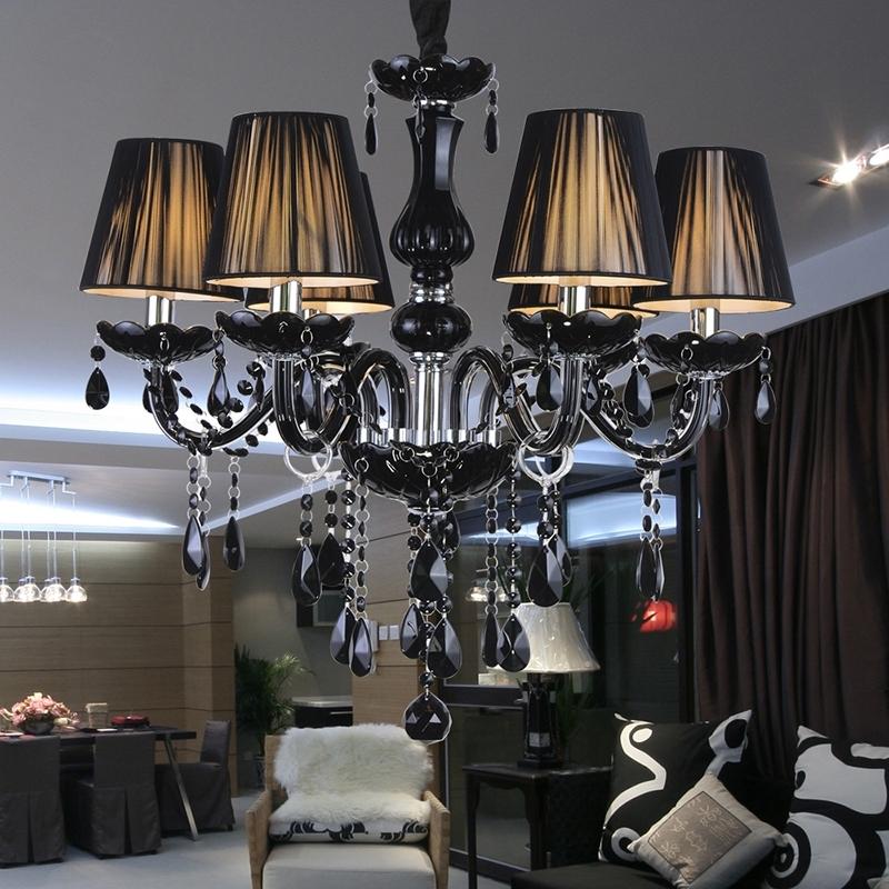 Antique Black Chandelier Regarding Most Recent Modern Luxury Black Crystal Chandelier Lighting Fixture Pendant (View 4 of 10)