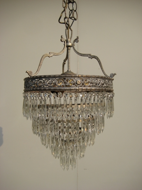 Antique Crystal Chandeliers  1920 Brass 5 Tier Waterfall Crystals With Regard To Trendy Waterfall Crystal Chandelier (View 2 of 10)