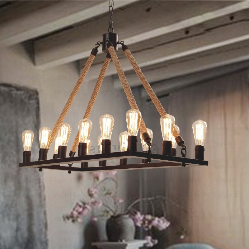 Antique Style Chandeliers Within Most Popular Antique 14 Light Rope Rectangular Industrial Style Lighting (View 6 of 10)