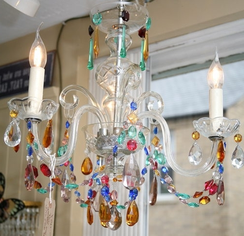 Antiques Atlas – 1930S 3 Arm Coloured Glass Chandelier With Regard To Most Recent Coloured Glass Chandelier (View 1 of 10)