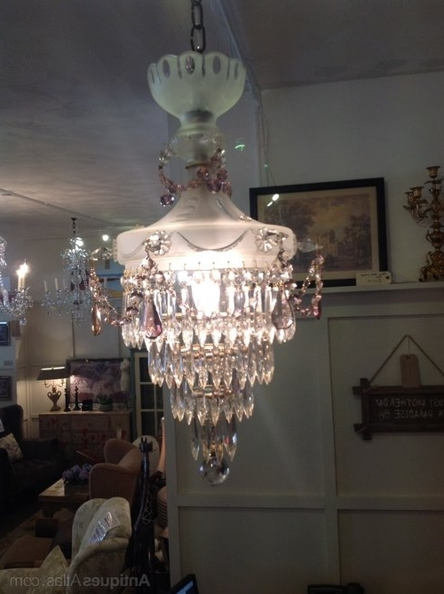 Antiques Atlas – Edwardian Chandelier In Frosted Glass Throughout Newest Edwardian Chandeliers (View 7 of 10)