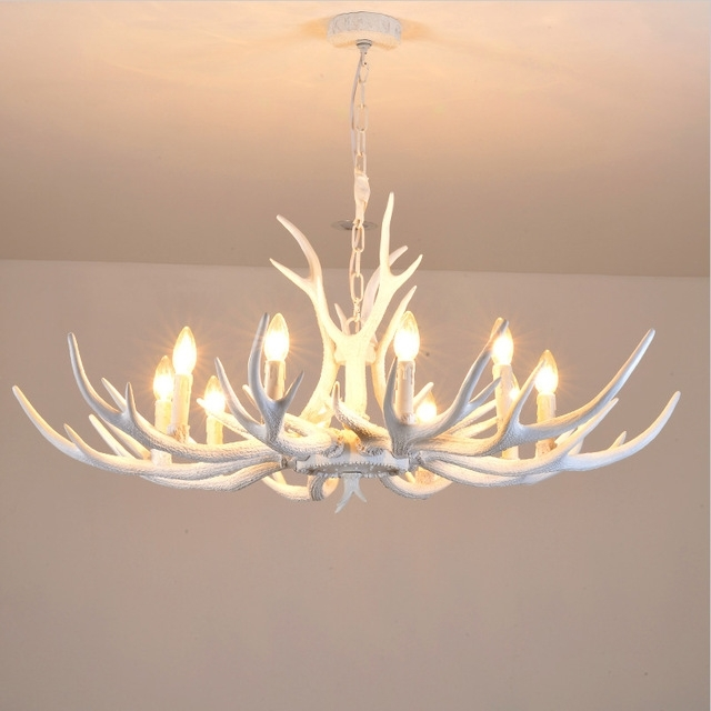 Antler Chandelier In Latest Modern White Antler Chandelier Novelty Lustre Light For Dining Room (View 3 of 10)