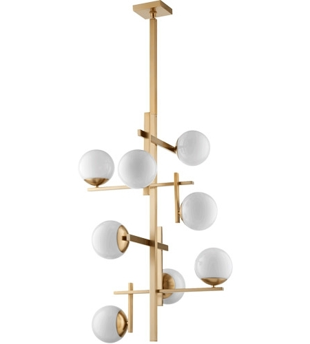 Atom Chandeliers Pertaining To Popular Quorum 628 8 80 Atom 25 Inch Aged Brass Chandelier Ceiling Light, Opal (View 3 of 10)
