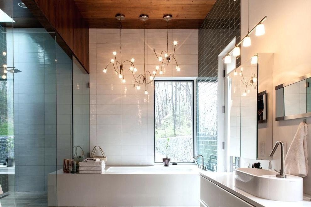 Bathroom Lighting Chandelier Contemporary Playful With Pendant Light Intended For Most Recent Chandelier Bathroom Lighting Fixtures (View 10 of 10)