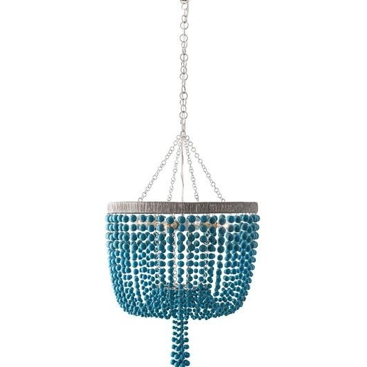Beaded Four Light Mini Chandelier Intended For Most Popular Turquoise Blue Beaded Chandeliers (View 10 of 10)