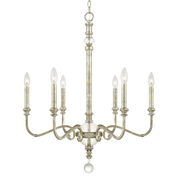 Best And Newest Capital Lighting Charleston Collection 6 Light Silver And Gold Leaf Regarding Gold Leaf Chandelier (View 3 of 10)