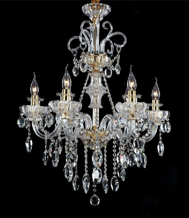 Best And Newest Italy Style Restaurant Crystal Chandelier 6 Lights Modern Candle Led For Italian Chandeliers Style (View 9 of 10)