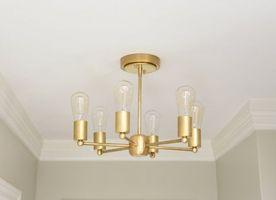 Best And Newest Modern Chandelier Gold 6 Arm Pinwheel Bulb Brass Sputnik Mid Century Regarding Gold Modern Chandelier (View 6 of 10)