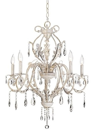 Best And Newest Shabby Chic Chandeliers Throughout Kathy Ireland Devon 5 Light Antique White Crystal Chandelier (View 10 of 10)