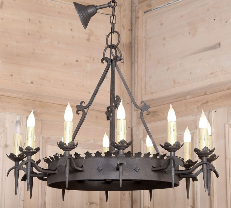 Best And Newest Vintage Wrought Iron Chandelier Regarding Vintage Gothic Wrought Iron Chandelier (View 1 of 10)