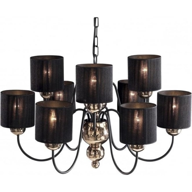 Black Ceiling Hanging Lights Throughout Most Popular Black Chandeliers With Shades (View 9 of 10)
